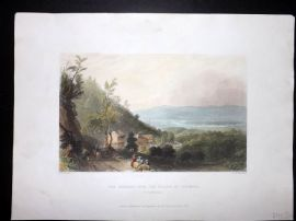 Bartlett America C1840 HC Print. Descent into the Valley of Wyoming Pennsylvania
